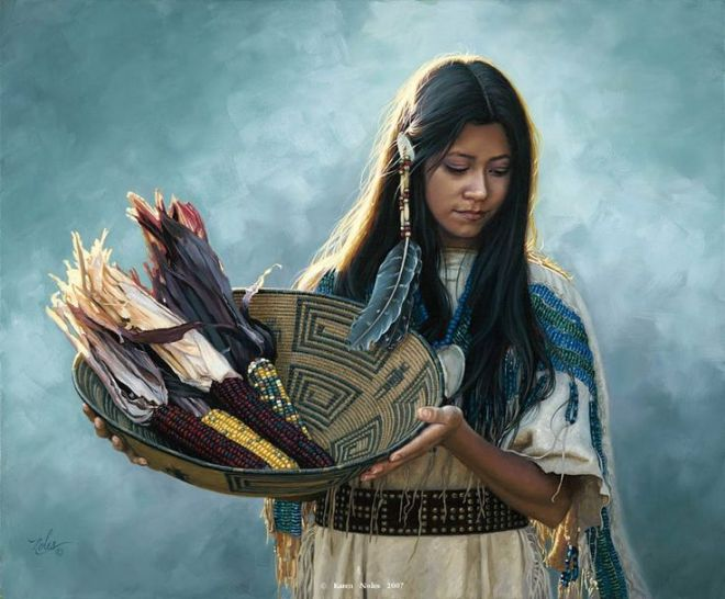 native american woman painting